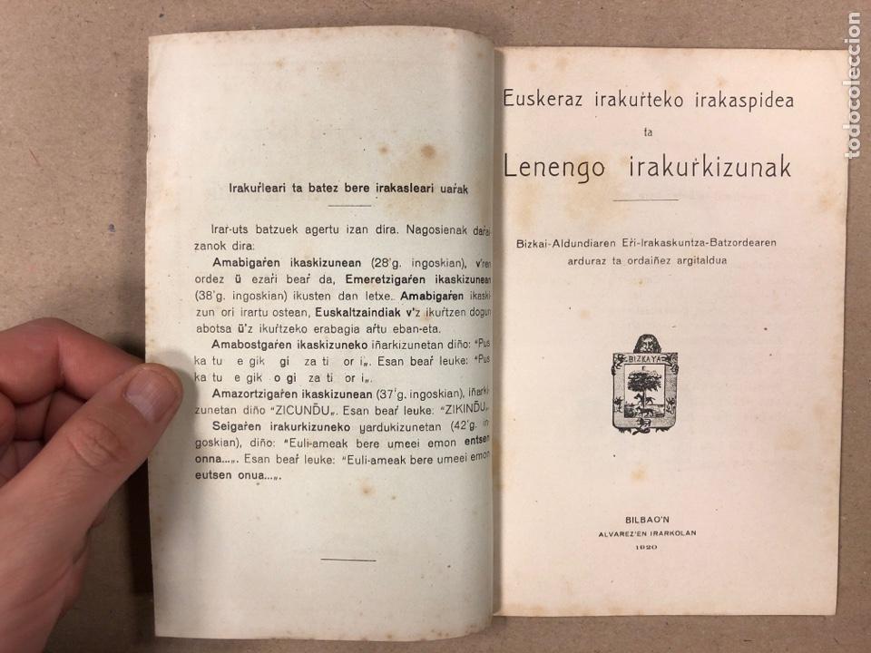 Libros antiguos: EUSKERAZ IRAKURTEKO IRAKASPIDEA TA LENENGO IRAKURKIZUNAK. ÁLVAREZ'EN IRARKOLAN 1920 (BILBAO). - Foto 2 - 195993070