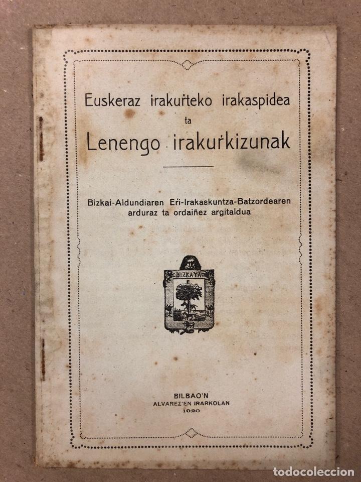 EUSKERAZ IRAKURTEKO IRAKASPIDEA TA LENENGO IRAKURKIZUNAK. ÁLVAREZ'EN IRARKOLAN 1920 (BILBAO). (Libros Antiguos, Raros y Curiosos - Cursos de Idiomas)