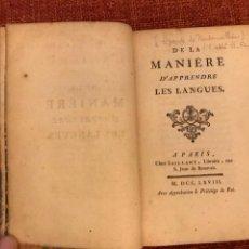 Libros antiguos: DE LA MANIERE D'APPRENDRE LES LANGUES. 1768 CLAUDE-FRANÇOIS LIZARDE DE RADONVILLIERS. PARIS SAILLANT. Lote 202333338