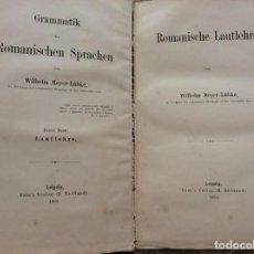 Libros antiguos: WILHELM MEYER-LÜBKE GRAMÁTICA DE LAS LENGUAS ROMÁNICAS.1890. VOM. 1. 1.ª EDICIÓN. MUY RARO.. Lote 204726855