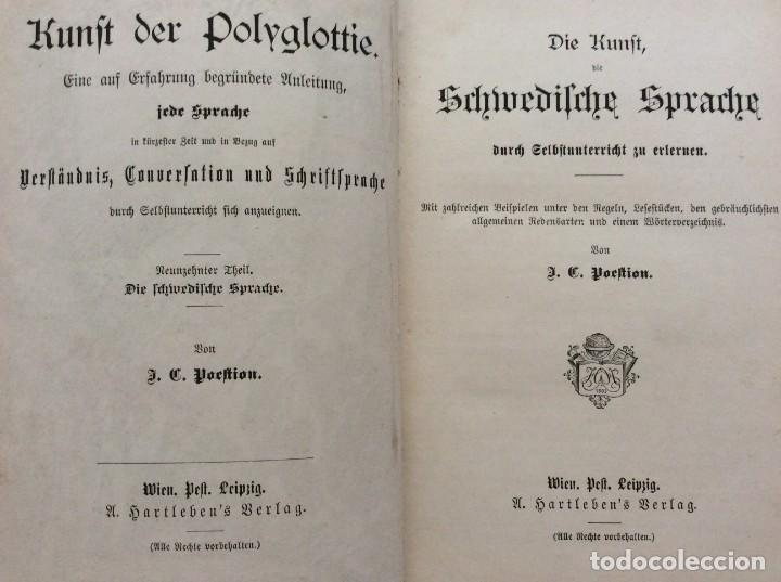 Libros antiguos: El arte de aprender el idioma sueco a través de la autoinstrucción. Poestion, J. C.189? - Foto 3 - 204728048