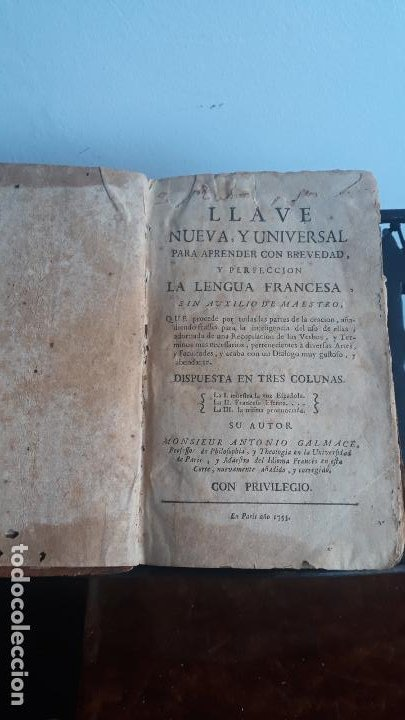 Libros antiguos: llave nueva y universal para aprender con brevedad y perfeccion la lengua francesa 1753 - Foto 3 - 204759616