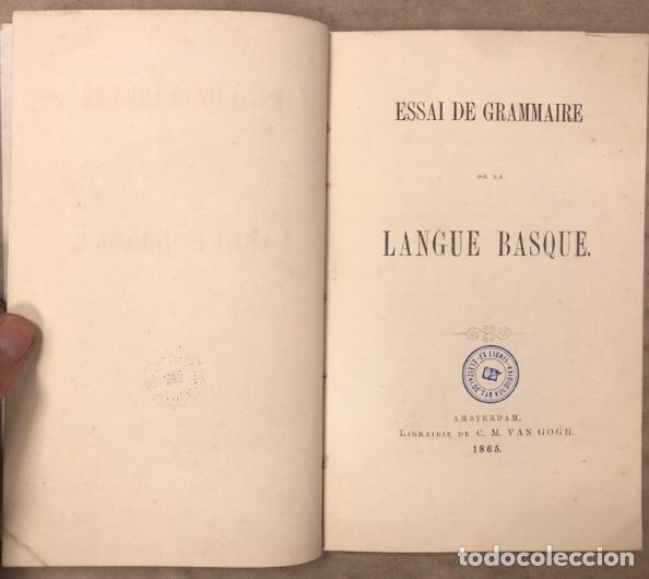 ESAAI DE GRAMMAIRE DE LANGUE BASQUE. WILLEM J. VAN EYS. LIBRAIRE DE C.M. VAN GOGH 1865. EUSKERA (Libros Antiguos, Raros y Curiosos - Cursos de Idiomas)