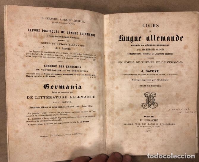Libros antiguos: COURS DE LANGUE ALLEMNADE. PAR J. SAVOYE. LIBRAIRE POUR LES LANGUES ÉTRANGÉRES 1873. - Foto 2 - 209071991
