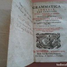Libros antiguos: GRAMMATICA INGLESE.AUTOR FERDINANDO ALTIERI. 1736 (120). Lote 221580812