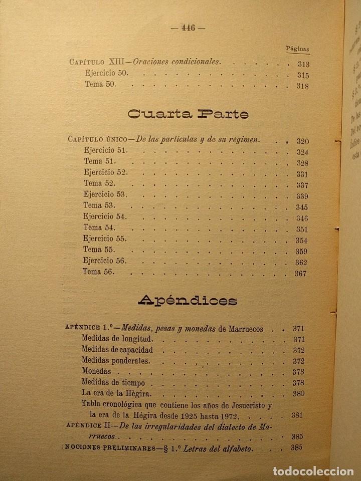 Libros antiguos: Rudimentos del árabe vulgar. Imperio de Marruecos. José Lerchundi. Tánger. 1925. - Foto 9 - 222399228