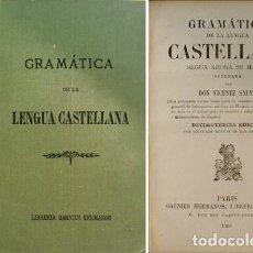 Libros antiguos: SALVÁ, VICENTE. GRAMÁTICA DE LA LENGUA CASTELLANA SEGÚN AHORA SE HABLA. 1903.. Lote 222487368