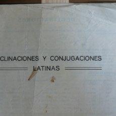 Libros antiguos: DECILNACIONES Y CONGUGACIONES LATINAS. FOLLETO ESCOLAR SIN FECHA NI AUTOR( AÑOS 50?) 17 PP. 7 CUADR. Lote 234297185