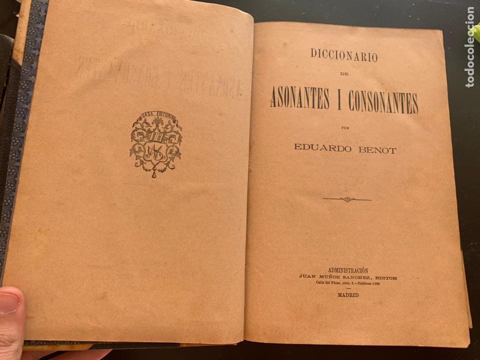 Libros antiguos: Diccionario de asonantes i consonantes por Eduardo Benot - Foto 2 - 248421770