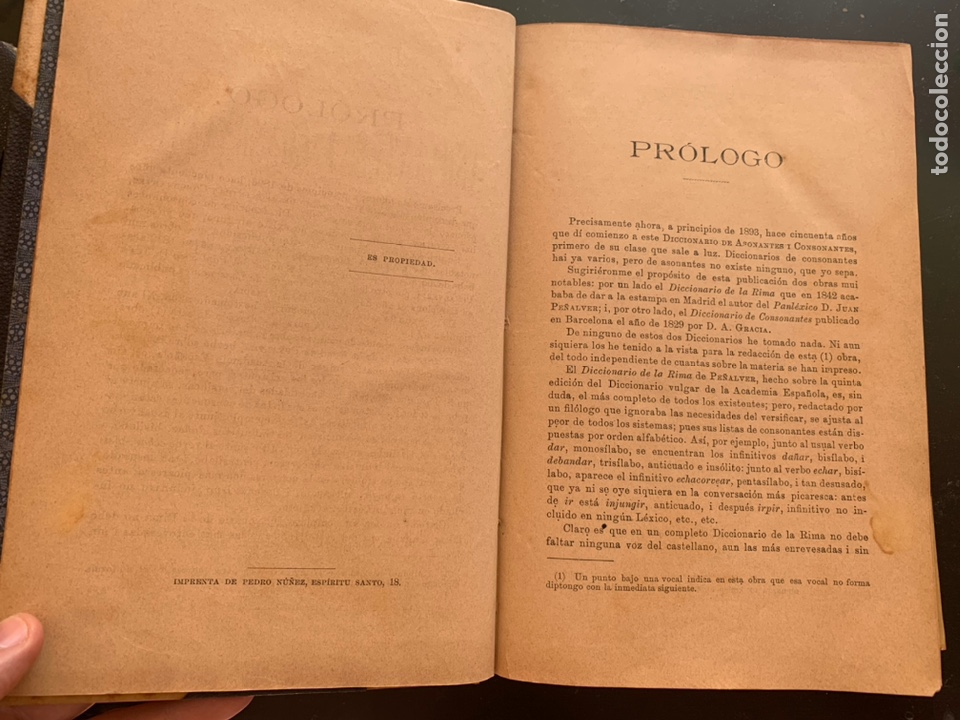 Libros antiguos: Diccionario de asonantes i consonantes por Eduardo Benot - Foto 3 - 248421770