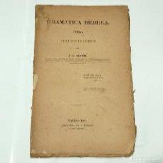 Libros antiguos: GRAMATICA HEBREA CUESO TEORICO-PRACTICO BRAUN J.J. EDITORIAL: LIBRERIA DE A. DURAN, 1867. Lote 275789803