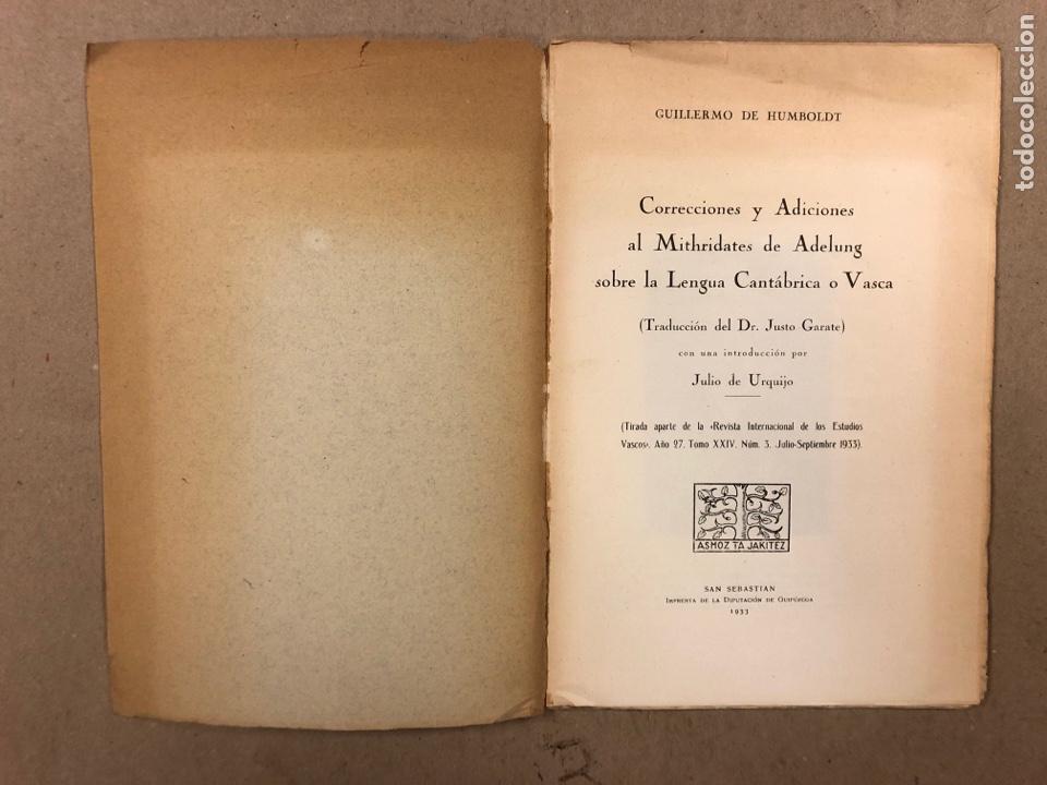 Libros antiguos: CORRECCIONES Y ADICIONES AL MITHRIDATES DE ADELUNG SOBRE LENGUA CANTÁBRICA O VASCA. GUILLERMO DE HUM - Foto 2 - 283035998