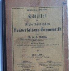Libros antiguos: SCHLÜSSEL ZÜR NIEDERLÄNDISCHEN KONVERSATIONS-GRAMMATIK,VON T.G.G. VALETTE, 1891.. Lote 286875818