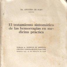 Libros antiguos: REVISTA MÉDICA. EL TRATAMIENTO SINTOMÁTICO DE LAS HEMORRAGIAS EN MEDICINA PRÁCTICA. DR. ANGUERA SOJO. Lote 24694155