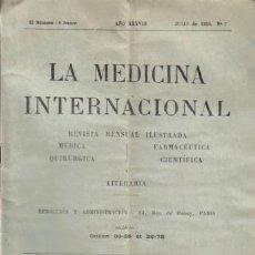 Libros antiguos: REVISTA MÉDICA. LA MEDICINA INTERNACIONAL. AÑO XXXVIII. JULIO DE 1930. Nº 7.. Lote 8532043