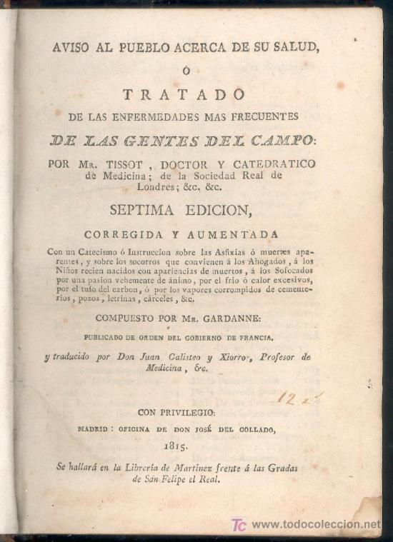 TRATADO DE ENFERMEDADES DE LAS GENTES DEL CAMPO POR MR. TISSOT - MADRID 1815 - MEDICINA. (Libros Antiguos, Raros y Curiosos - Ciencias, Manuales y Oficios - Medicina, Farmacia y Salud)