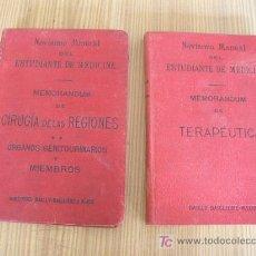 Libros antiguos: NOVISIMO MANUAL DEL ESTUDIANTE DE MEDICINA- 2 TOMOS- MAD.- LIB. EDT: DE BAILLY BAILLIERE É HIJOS-. Lote 26075868