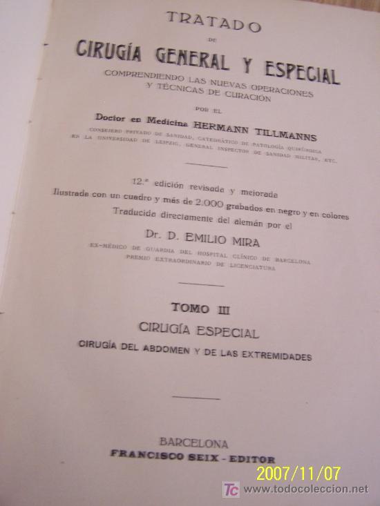 TRATADO DE CIRUGÍA GENERAL Y ESPECIAL, COMPRENDIENDO LAS NUEVAS OPERACIONES Y TÉCNICAS DE CURACIÓN. (Libros Antiguos, Raros y Curiosos - Ciencias, Manuales y Oficios - Medicina, Farmacia y Salud)