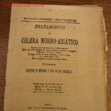 Libros antiguos: TRATAMIENTO DEL CÓLERA MORBO-ASIÁTICO-CONTIENE 79 MÉTODOS Y MÁS DE 200 FÓRMULAS-1881?-. Lote 19756896