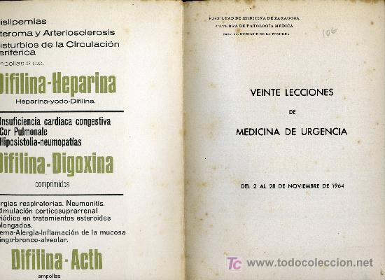 Libros antiguos: VEINTE LECCIONES DE MEDICINA DE URGENCIAS POR EL DR. ENRIQUEZ DE LA FIGUERA.EDIT. LABORATORIOS LLADE - Foto 2 - 18660019