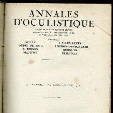 Libros antiguos: MEDICINA. ANNALES D'OCULISTIQUES 1935 . PUBLICADO POR MORAX, DUPY DUTEMPS,A. TERSON, MAGITOT.... Lote 13064517