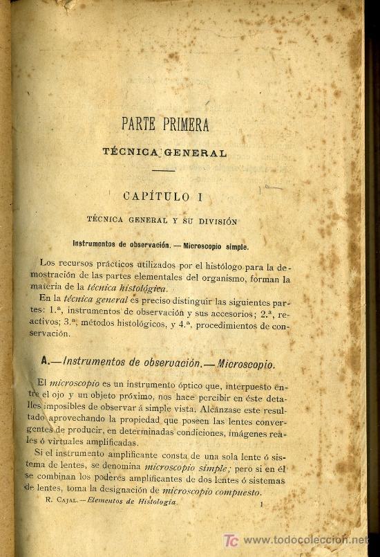 MEDICINA. HISTOLOGIA . CAJAL (Libros Antiguos, Raros y Curiosos - Ciencias, Manuales y Oficios - Medicina, Farmacia y Salud)