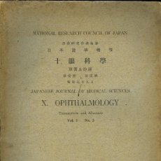 Libros antiguos: MEDICINA. JAPANESE JOURNAL OF MEDICAL SCIENCES. X OPHTALMOLOGY. VOL. I Nº2. TOKIO 1932. Lote 10600305