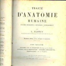Libros antiguos: MEDICINA. TRAITE D'ANATOMIE HUMAINE PAR L. TESTUT. 3ª ED. PARIS OCTAVE DOIN EDITEUR 1895 TOME 3. Lote 12850941