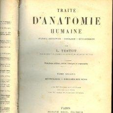 Libros antiguos: MEDICINA. TRAITE D'ANATOMIE HUMAINE PAR L. TESTUT. 3ª ED. PARIS OCTAVE DOIN EDITEUR 1897 TOME 2. Lote 16844811