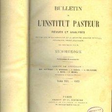 Libros antiguos: MEDICINA. BULLETIN DE L'INSTITUT PASTEUR. 1923. TOME XXI. MASSON ET CIE. . Lote 10661702