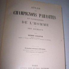 Libros antiguos: ATLAS DES CHAMPINONS PARASITES ET PATHOGENES DE L´HOMME ET DES ANIMAUX-HENRI COUPIN-1909 -PARIS. Lote 15755993