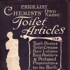 Libros antiguos: PRICE LIST. CHEMISTS' OWN. TOILET ARTICLES. SUPPLEMENT TO THE CHEMIST AND DRUGGIST JULY 26, 1913. Lote 79819331