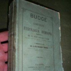 Libros antiguos: COMPENDIO DE FISIOLOGÍA HUMANA BUDGE LIBRERÍA DE PASCUAL AGUILAR 1877 RM44593. Lote 22481192