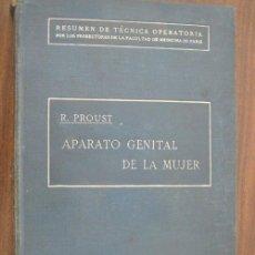 Libros antiguos: APARATO GENITAL DE LA MUJER. PROUST, R. 1921. RIGOBETO SIRERA EDITOR. Lote 20506861