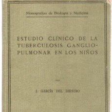 Libros antiguos: ESTUDIO CLINICO DE LA TUBERCULOSIS GANGLIOPULMONAR EN LOS NIÑOS. J. GARCIA DEL DIESTRO. 1919.. Lote 21272426