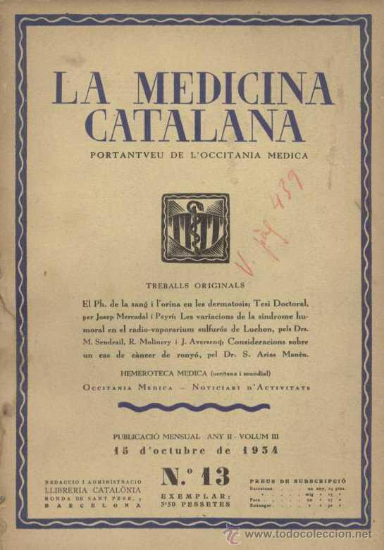 REVISTA LA MEDICINA CATALANA Nº 13 / 1934 (Libros Antiguos, Raros y Curiosos - Ciencias, Manuales y Oficios - Medicina, Farmacia y Salud)