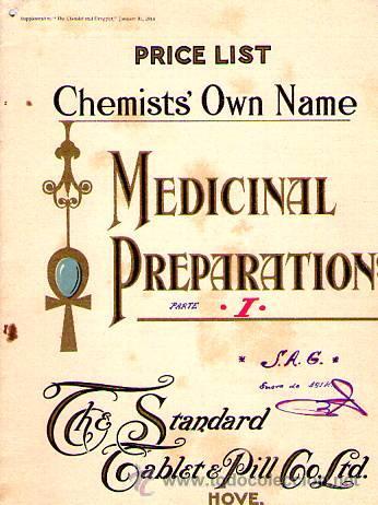 PRICE LIST. CHEMISTS' OWN NAME. MEDICINAL PREPARATIONS. JANUARY 31, 1914 (Libros Antiguos, Raros y Curiosos - Ciencias, Manuales y Oficios - Medicina, Farmacia y Salud)