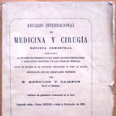 Libros antiguos: ANUARIO INTERNACIONAL DE MEDICINA Y CIRUGÍA - REVISTA SEMESTRAL - JULIO A DICIEMBRE 1903. Lote 25340784