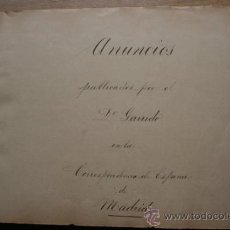"""Libros antiguos: ALBUM DE ANUNCIOS PUBLICADOS POR EL DOCTOR GARRIDO EN LA """"CORRESPONDENCIA DE ESPAÑA"""", .... Lote 26739527"""