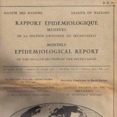 Libros antiguos: AÑO 1931 * EPIDEMIOLOGIA * MORTALIDAD RURAL EN EUROPA * INGLES. Lote 27280636