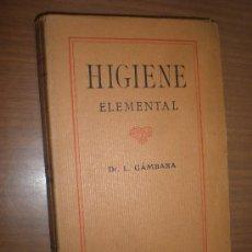 Libros antiguos: DOCTOR L. GAMBARA HIGIENE ELEMENTAL (MANUAL DE HIGIENE) BARCELONA F. GRANADA EDITORES. Lote 28009556