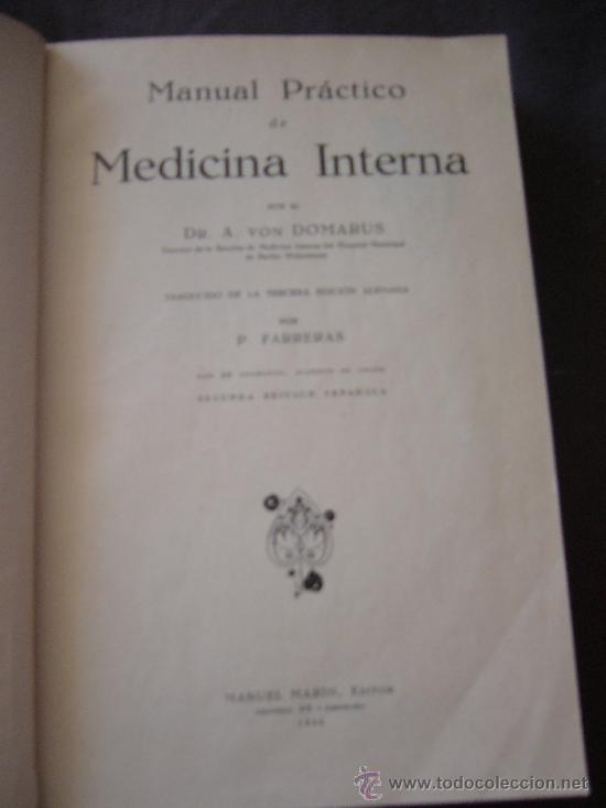 A. VON DOMARUS. MEDICINA INTERNA. BARCELONA, 1930 (Libros Antiguos, Raros y Curiosos - Ciencias, Manuales y Oficios - Medicina, Farmacia y Salud)