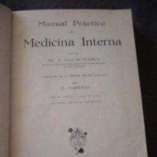 Libros antiguos: A. VON DOMARUS. MEDICINA INTERNA. BARCELONA, 1930. Lote 28100155