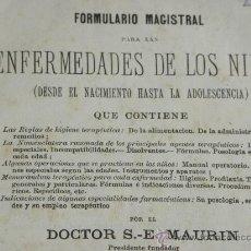 Libros antiguos: FORMULARIO MAGISTRAL ENFERMEDADES NIÑOS DR.MAURIN. F. PEREIRO PULL 2ª ED. 1887.. Lote 29298815