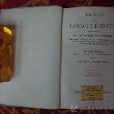 Libros antiguos: NOCIONES DE FISIOLOGIA E HIGIENE.POR J. MONLAU. MADRID 1872.. Lote 30324932