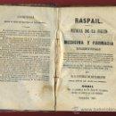 Libros antiguos: LIBRO, RASPAIL , MANUAL DE SALUD, MEDICINA FARMACIA , SORIA 1867, ORIGINAL. Lote 30348412