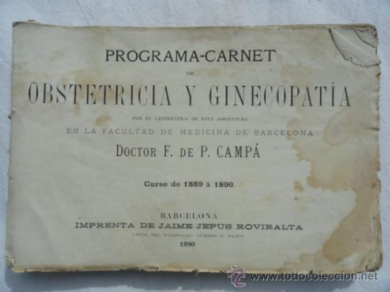 PROGRAMA-CARNET DE OBSTETRICIA Y GINECOLOGIA. CURSO DE 1889 A 1890.. (Libros Antiguos, Raros y Curiosos - Ciencias, Manuales y Oficios - Medicina, Farmacia y Salud)