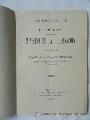 ASAMBLEA DE MEDICOS TITULARES DE 1902. (Libros Antiguos, Raros y Curiosos - Ciencias, Manuales y Oficios - Medicina, Farmacia y Salud)