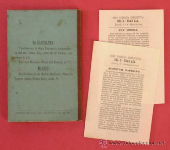 Libros antiguos: GUÍA POPULAR DE HOMEOPATÍA. SE VENDE EN LA GRAN FARMACIA HOMEOPÁTICA DEL DR, GRAU ALAS, 1870. 1ª ED. - Foto 8 - 34139079