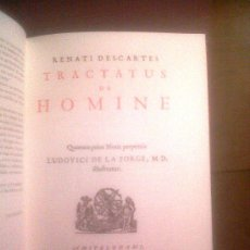 Libros antiguos: FACCIMIL DE DESCARTES, TRACTATUS DE HOMINE, FILOSOFIA Y ANATOMIA, CON GRABADOS. Lote 35304192